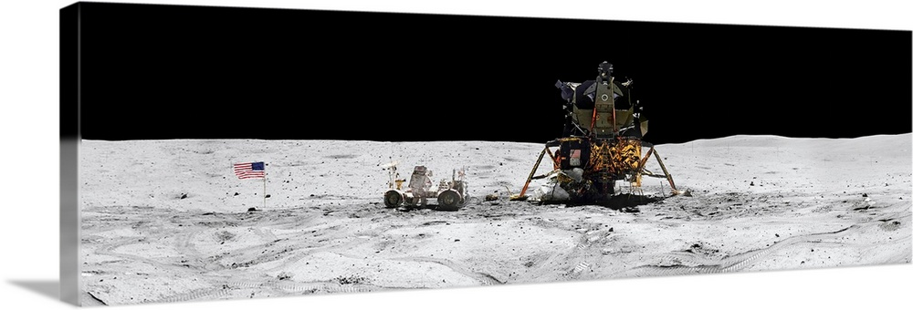 Large Solid-Faced Canvas Print Wall Art Print 48 x 16 entitled Apollo 16 landing site in the lunar highlands Solid-Faced Canvas Print entitled Apollo 16 landing site in the lunar highlands.  An extremely narrow panoramic photograph taken with a wide angle camera of the Lunar Module and the surface of the moon.  Multiple sizes available.  Primary colors within this image include Black, Silver.  Made in the USA.  Satisfaction guaranteed.  Archival-quality UV-resistant inks.  Canvas depth is 1.25 and includes a finished backing with pre-installed hanging hardware.  Canvas is handcrafted and made-to-order in the United States using high quality artist-grade canvas.