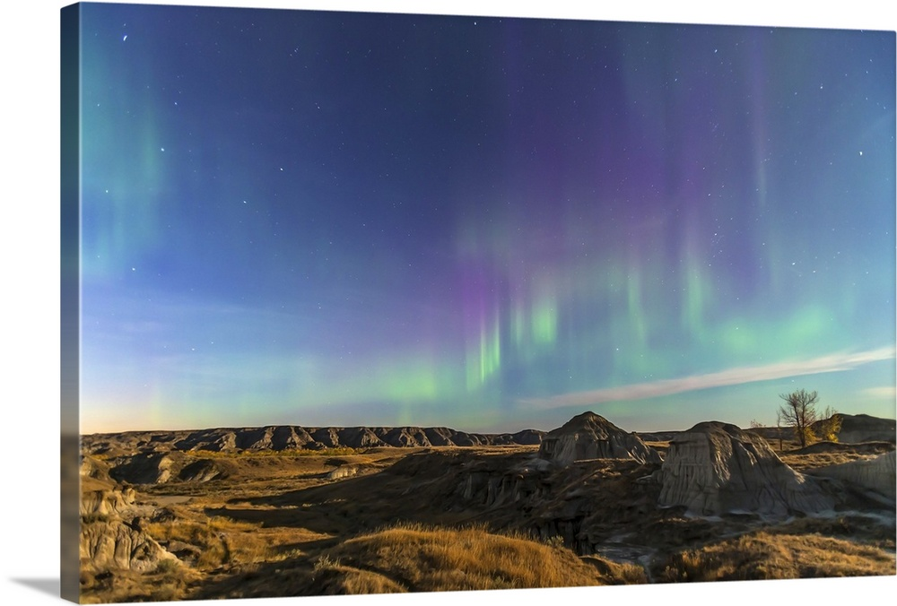 Large Solid-Faced Canvas Print Wall Art Print 30 x 20 entitled Aurora borealis over the badlands of Dinosaur Provincial Pa... Solid-Faced Canvas Print entitled Aurora borealis over the badlands of Dinosaur Provincial Park, Canada.  September 30, 2012 - Aurora borealis over the badlands of Dinosaur Provincial Park, Alberta, Canada. The landscape is illuminated by the full harvest moon off camera to the right. The Big Dipper is visible at left and Cassiopeia at right.  Multiple sizes available.  Primary colors within this image include Brown, Sky Blue, Muted Blue, Dark Forest Green.  Made in USA.  All products come with a 365 day workmanship guarantee.  Archival-quality UV-resistant inks.  Canvas is handcrafted and made-to-order in the United States using high quality artist-grade canvas.  Featuring a proprietary design, our canvases produce the tightest corners without any bubbles, ripples, or bumps and will not warp or sag over time.