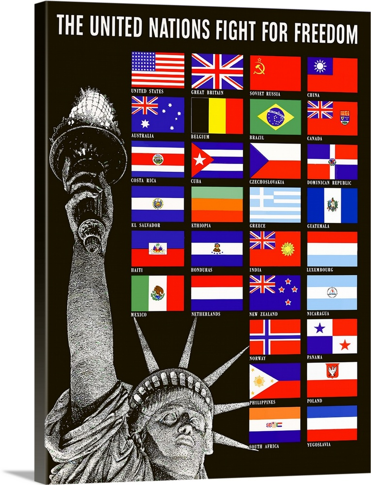 Large Solid-Faced Canvas Print Wall Art Print 36 x 48 entitled Digitally restored vector war propaganda poster - United na... Solid-Faced Canvas Print entitled Digitally restored vector war propaganda poster - United nations.  Digitally restored vector war propaganda poster. This artwork features the Statue Of Liberty and the flags of the United Nations. It declares, The United Nations Fight For Freedom.  Multiple sizes available.  Primary colors within this image include Red, Orange, Dark Purple, Black.  Made in the USA.  Satisfaction guaranteed.  Archival-quality UV-resistant inks.  Archival inks prevent fading and preserve as much fine detail as possible with no over-saturation or color shifting.  Canvas depth is 1.25 and includes a finished backing with pre-installed hanging hardware.