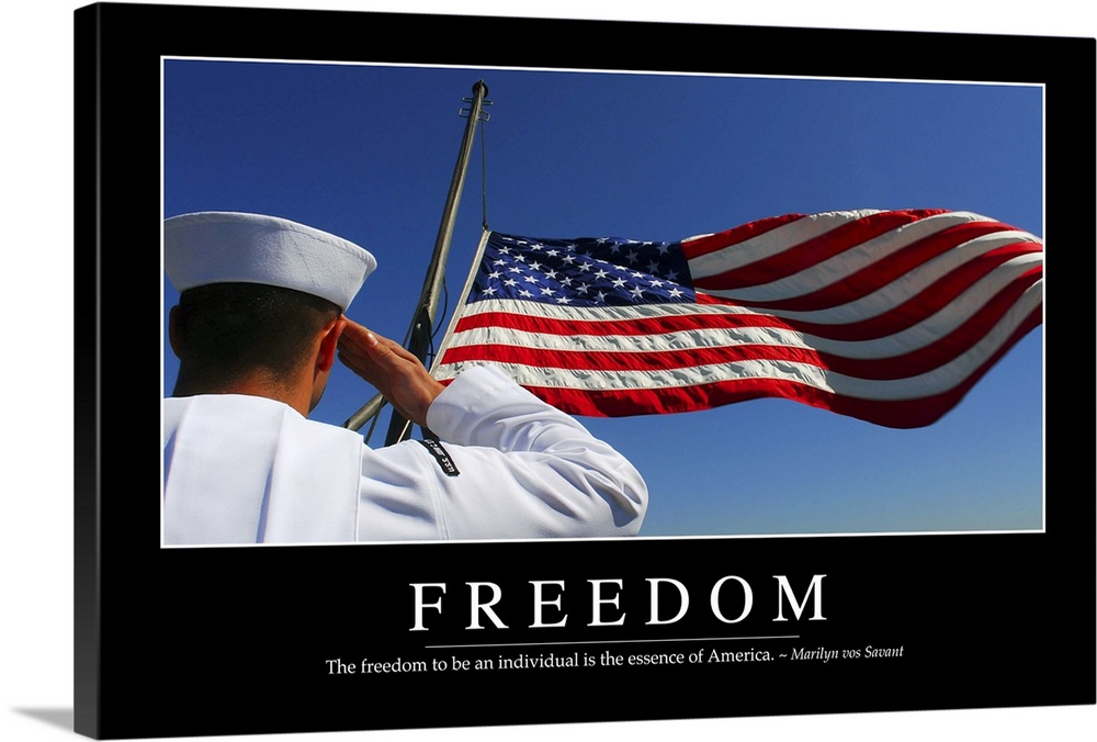 Large Solid-Faced Canvas Print Wall Art Print 36 x 24 entitled Freedom: Inspirational Quote and Motivational Poster Solid-Faced Canvas Print entitled Freedom Inspirational Quote and Motivational Poster.  Multiple sizes available.  Primary colors within this image include Dark Red, Black, Silver, Muted Blue.  Made in USA.  All products come with a 365 day workmanship guarantee.  Archival-quality UV-resistant inks.  Archival inks prevent fading and preserve as much fine detail as possible with no over-saturation or color shifting.  Canvas depth is 1.25 and includes a finished backing with pre-installed hanging hardware.