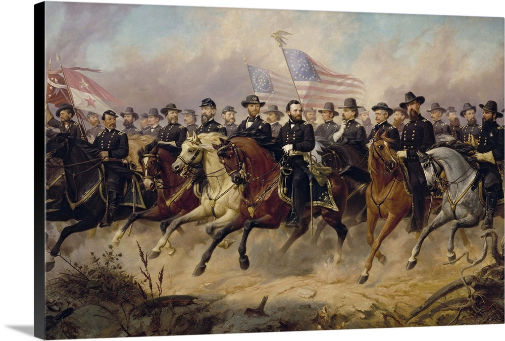 Large Gallery-Wrapped Canvas Wall Art Print 30 x 20 entitled Painting of Ulysses S. Grant and his Generals by Ole Peter Ha... Gallery-Wrapped Canvas entitled Painting of Ulysses S. Grant and his Generals by Ole Peter Hansen Balling.  Painting of Ulysses S. Grant and his Generals by Ole Peter Hansen Balling. The Generals, left to right, are Devin, Custer, Kilpatrick, Emory, Sheridan, McPherson, Crook, Merritt, Thomas, Warren, Meade, Parke, Sherman, Logan, Grant, Burnside, Hooker, Hancock, Rawlins, Ord, Blair, Terry, Slocum, Davis, Howard, Schofield, and Mower.  Multiple sizes available.  Primary colors within this image include Black, Light Gray.  Made in the USA.  All products come with a 365 day workmanship guarantee.  Archival-quality UV-resistant inks.  Canvases have a UVB protection built in to protect against fading and moisture and are designed to last for over 100 years.  Museum-quality, artist-grade canvas mounted on sturdy wooden stretcher bars 1.5 thick.  Comes ready to hang.