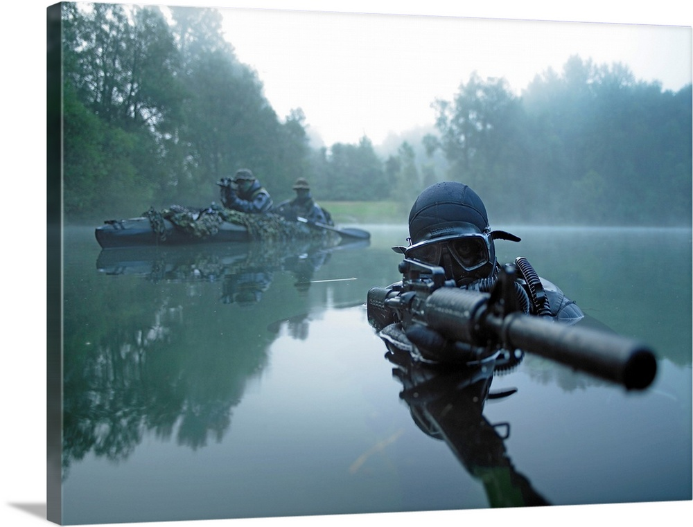 Solid-Faced Canvas Print Wall Art entitled Special operations forces combat
