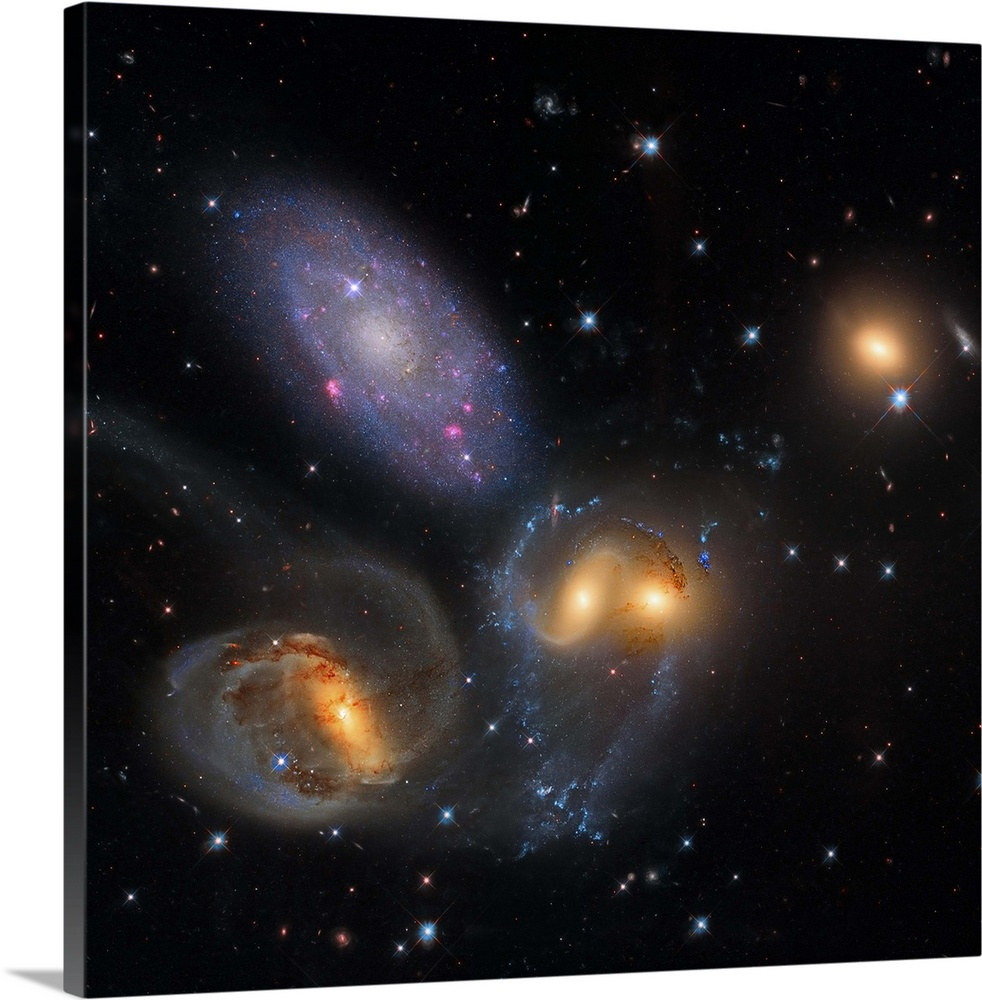Solid-Faced Canvas drucken wand kunst entitled Stephan's Quintet, a gruppeing of