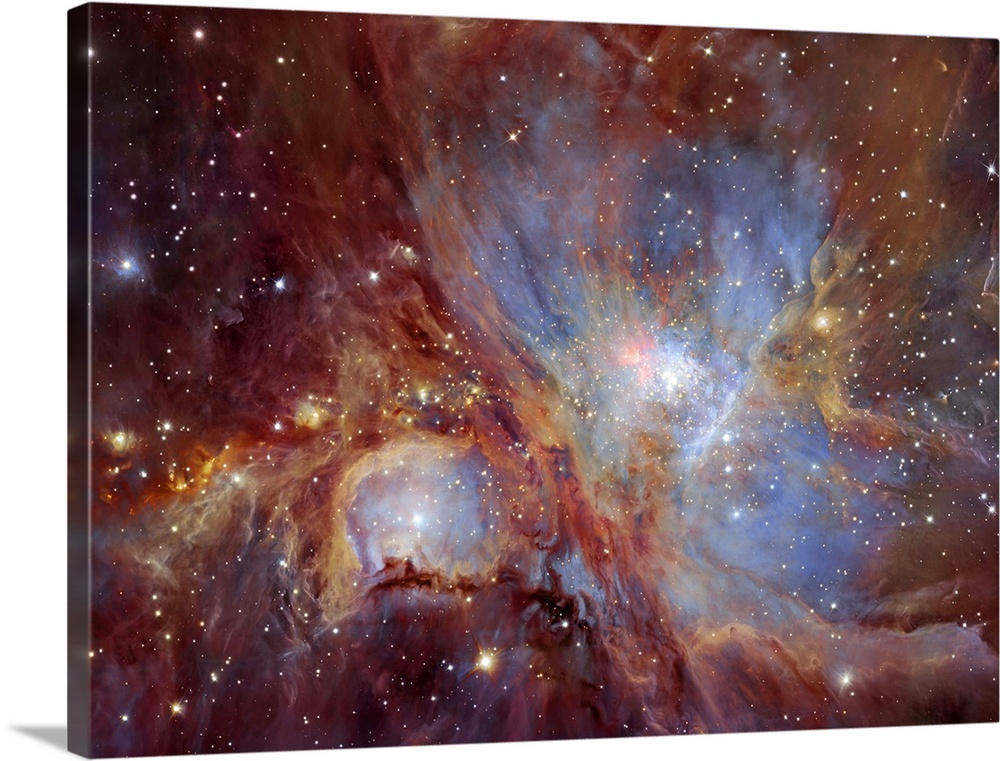 Large Solid-Faced Canvas Print Wall Art Print 40 x 30 entitled The Orion Nebula in infrared light Solid-Faced Canvas Print entitled The Orion Nebula in infrared light.  The Orion Nebula in infrared light. This spectacular image of the Orion Nebula star-formation region was obtained from multiple exposures using the HAWK-I infrared camera.  Multiple sizes available.  Primary colors within this image include Brown, Black, White, Muted Blue.  Made in the USA.  All products come with a 365 day workmanship guarantee.  Inks used are latex-based and designed to last.  Canvas depth is 1.25 and includes a finished backing with pre-installed hanging hardware.  Canvas is handcrafted and made-to-order in the United States using high quality artist-grade canvas.