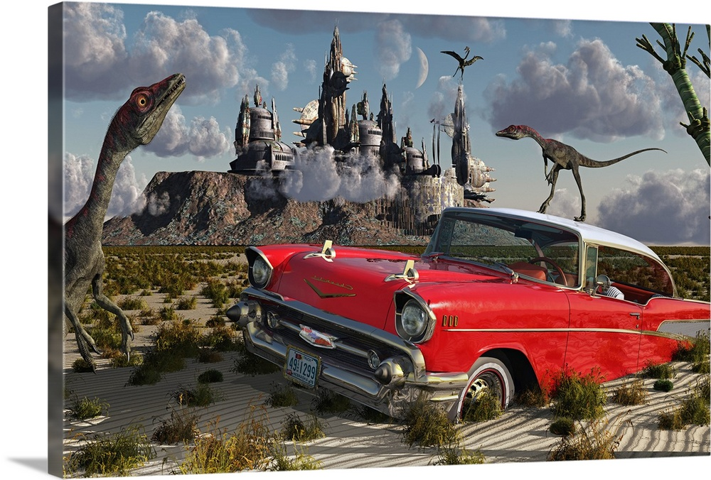 Large Solid-Faced Canvas Print Wall Art Print 30 x 20 entitled The possibility of different dimensions through time travel Solid-Faced Canvas Print entitled The possibility of different dimensions through time travel.  Artists concept illustrating a strange combination of Compsognathus dinosaurs, a red Cadillac and futuristic buildings. It is as though time has become scrambled between the past and future, perhaps the result of a time portal or a dimensional doorway.  Multiple sizes available.  Primary colors within this image include Dark Red, Brown, Black, Light Gray Blue.  Made in USA.  All products come with a 365 day workmanship guarantee.  Archival-quality UV-resistant inks.  Canvas is handcrafted and made-to-order in the United States using high quality artist-grade canvas.  Archival inks prevent fading and preserve as much fine detail as possible with no over-saturation or color shifting.