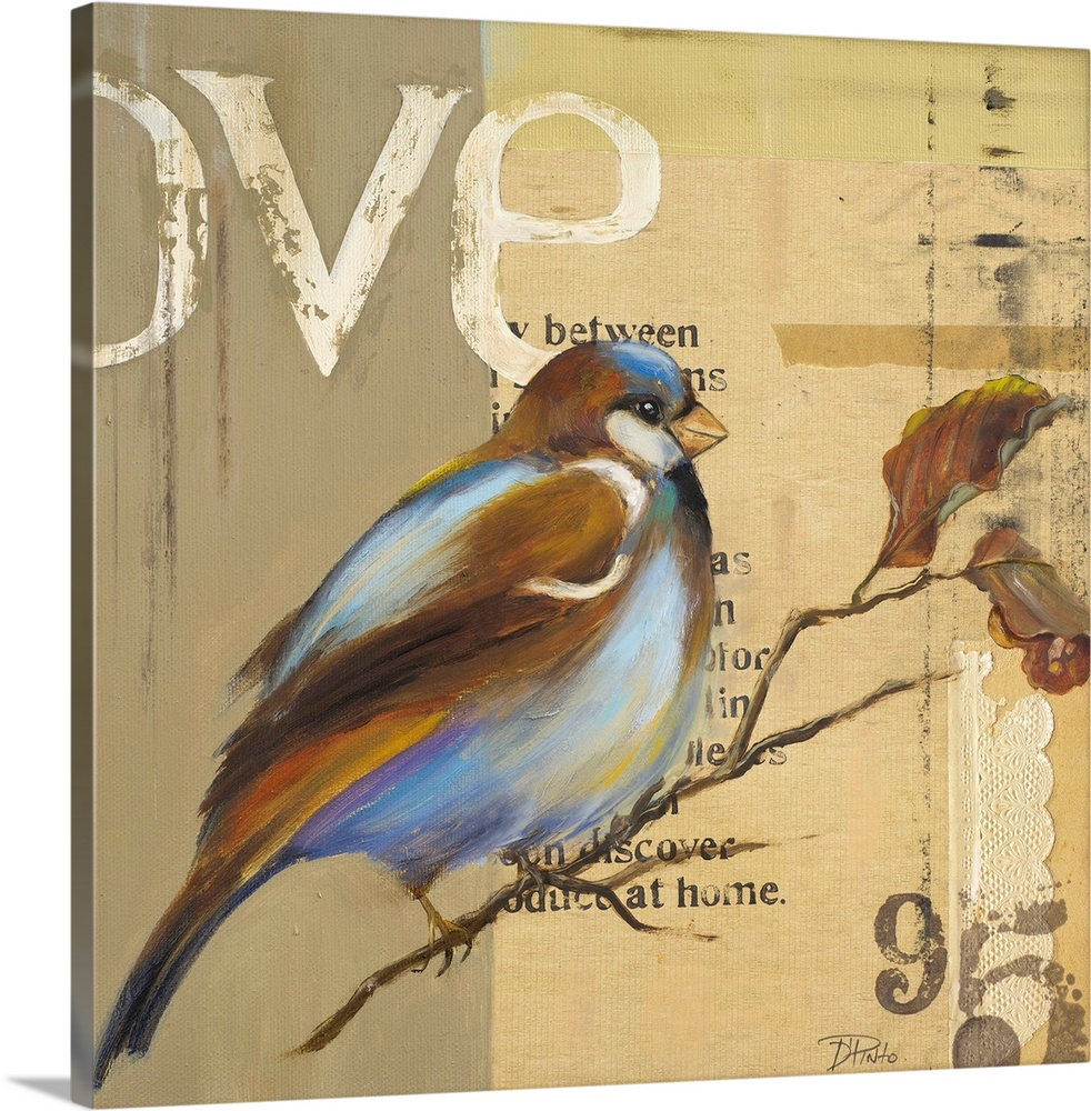 Large Solid-Faced Canvas Print Wall Art Print 20 x 20 entitled Blue Love Birds II Solid-Faced Canvas Print entitled Blue Love Birds II.  Original Size 12x12  Mixed Media.  Multiple sizes available.  Primary colors within this image include Black, Light Gray, Gray Blue.  Made in the USA.  All products come with a 365 day workmanship guarantee.  Inks used are latex-based and designed to last.  Canvas is handcrafted and made-to-order in the United States using high quality artist-grade canvas.  Featuring a proprietary design, our canvases produce the tightest corners without any bubbles, ripples, or bumps and will not warp or sag over time.
