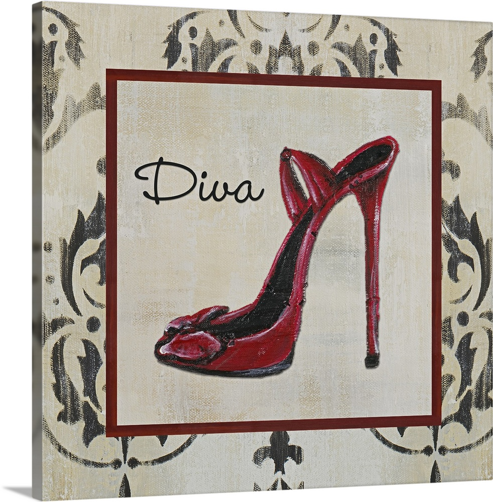 Large Solid-Faced Canvas Print Wall Art Print 20 x 20 entitled Diva Shoe Solid-Faced Canvas Print entitled Diva Shoe.  Original Size 12x12 mixed media.  Multiple sizes available.  Primary colors within this image include Black, Silver, Dark Forest Green.  Made in USA.  All products come with a 365 day workmanship guarantee.  Archival-quality UV-resistant inks.  Featuring a proprietary design, our canvases produce the tightest corners without any bubbles, ripples, or bumps and will not warp or sag over time.  Canvas depth is 1.25 and includes a finished backing with pre-installed hanging hardware.