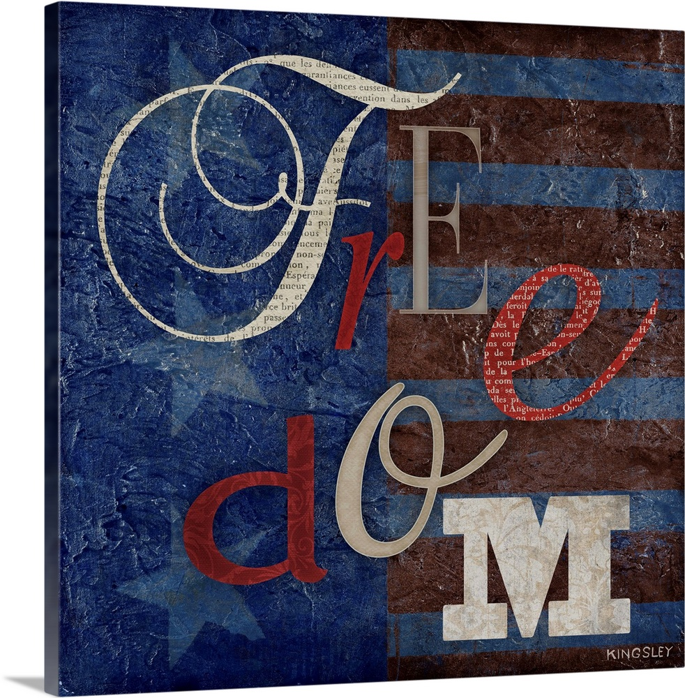 Large Solid-Faced Canvas Print Wall Art Print 24 x 24 entitled Freedom Solid-Faced Canvas Print entitled Freedom.  Multiple sizes available.  Primary colors within this image include Dark Gray, Silver, Gray Blue, Dark Navy Blue.  Made in USA.  All products come with a 365 day workmanship guarantee.  Archival-quality UV-resistant inks.  Canvas depth is 1.25 and includes a finished backing with pre-installed hanging hardware.  Canvas is handcrafted and made-to-order in the United States using high quality artist-grade canvas.