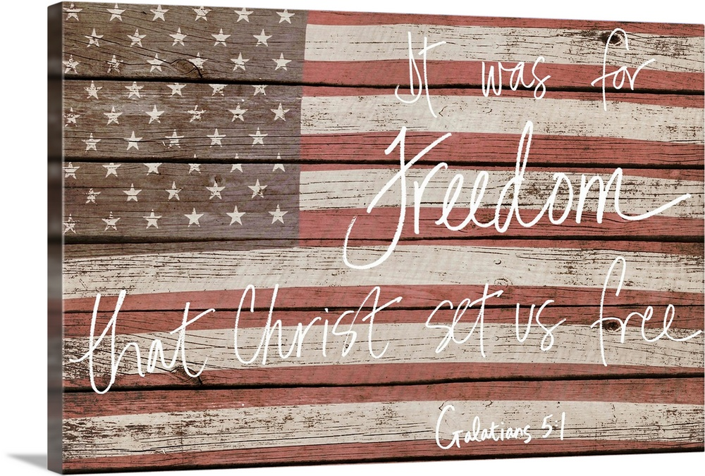 Large Solid-Faced Canvas Print Wall Art Print 36 x 24 entitled Freedom Solid-Faced Canvas Print entitled Freedom.  American flag on wooden board with a bible verse handwritten over it.  Multiple sizes available.  Primary colors within this image include Brown, Silver.  Made in the USA.  All products come with a 365 day workmanship guarantee.  Inks used are latex-based and designed to last.  Archival inks prevent fading and preserve as much fine detail as possible with no over-saturation or color shifting.  Canvas is handcrafted and made-to-order in the United States using high quality artist-grade canvas.