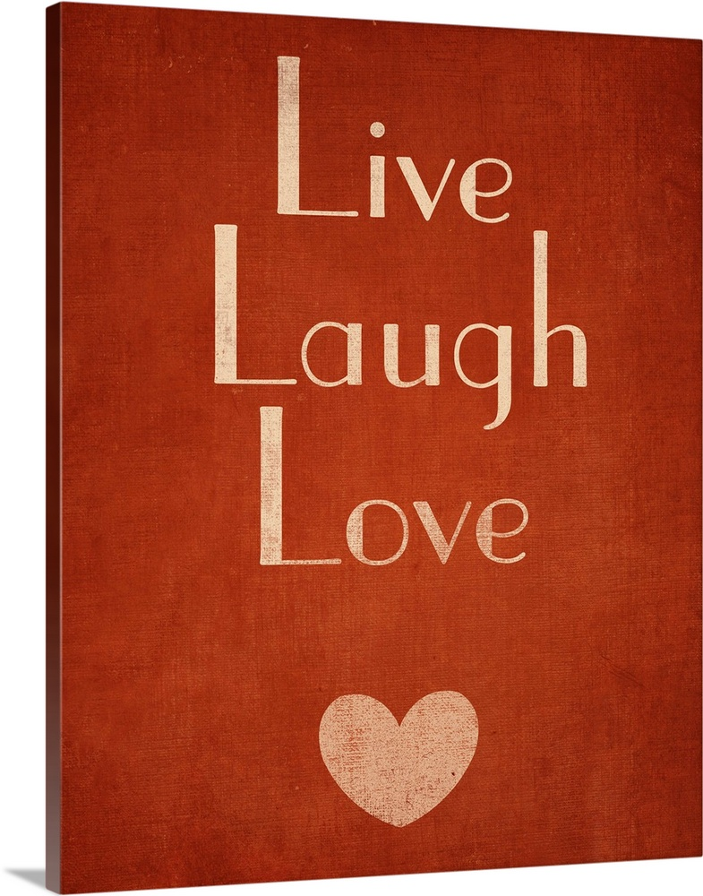 Large Solid-Faced Canvas Print Wall Art Print 24 x 30 entitled Live Laugh Love Solid-Faced Canvas Print entitled Live Laugh Love.  Multiple sizes available.  Primary colors within this image include Dark Red, Black, Silver.  Made in the USA.  All products come with a 365 day workmanship guarantee.  Inks used are latex-based and designed to last.  Archival inks prevent fading and preserve as much fine detail as possible with no over-saturation or color shifting.  Canvas is handcrafted and made-to-order in the United States using high quality artist-grade canvas.