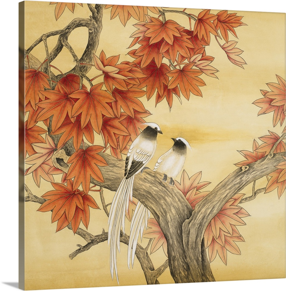 Large Solid-Faced Canvas Print Wall Art Print 20 x 20 entitled Love Birds I Solid-Faced Canvas Print entitled Love Birds I.  Square watercolor painting of birds in warm tones with an Asian-inspired flair.  Multiple sizes available.  Primary colors within this image include Brown, Peach, Dark Forest Green.  Made in the USA.  All products come with a 365 day workmanship guarantee.  Inks used are latex-based and designed to last.  Canvas is handcrafted and made-to-order in the United States using high quality artist-grade canvas.  Featuring a proprietary design, our canvases produce the tightest corners without any bubbles, ripples, or bumps and will not warp or sag over time.