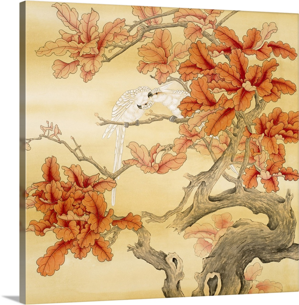 Large Solid-Faced Canvas Print Wall Art Print 20 x 20 entitled Love Birds II Solid-Faced Canvas Print entitled Love Birds II.  Asian artwork of two parrots preening in a tree with broad fall leaves and knotted branches.  Multiple sizes available.  Primary colors within this image include Dark Red, Peach, Gray.  Made in the USA.  Satisfaction guaranteed.  Inks used are latex-based and designed to last.  Featuring a proprietary design, our canvases produce the tightest corners without any bubbles, ripples, or bumps and will not warp or sag over time.  Canvas depth is 1.25 and includes a finished backing with pre-installed hanging hardware.