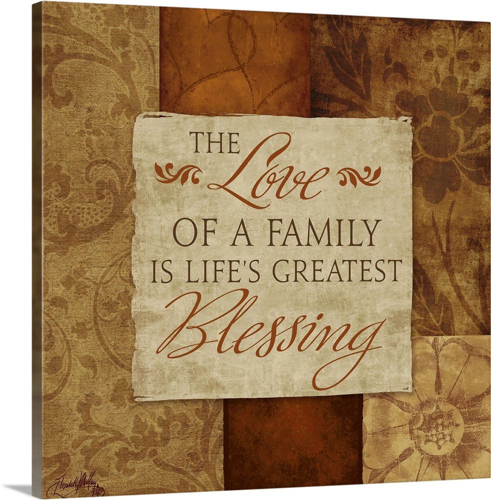 Large Solid-Faced Canvas Print Wall Art Print 20 x 20 entitled Love of a Family Solid-Faced Canvas Print entitled Love of a Family.  Inspirational artwork of a quote about family surrounded by different designs on neutral color blocks.  Multiple sizes available.  Primary colors within this image include Dark Gray, Silver.  Made in USA.  Satisfaction guaranteed.  Inks used are latex-based and designed to last.  Featuring a proprietary design, our canvases produce the tightest corners without any bubbles, ripples, or bumps and will not warp or sag over time.  Canvas depth is 1.25 and includes a finished backing with pre-installed hanging hardware.