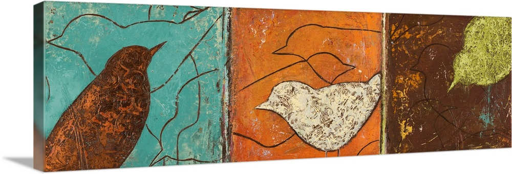 Large Solid-Faced Canvas Print Wall Art Print 48 x 16 entitled Lovely Birds I Solid-Faced Canvas Print entitled Lovely Birds I.  Abstract painting on a panoramic canvas of three different blocks of color with birds stenciled on top.  Multiple sizes available.  Primary colors within this image include Brown, Dark Yellow, White, Light Gray Blue.  Made in USA.  All products come with a 365 day workmanship guarantee.  Archival-quality UV-resistant inks.  Archival inks prevent fading and preserve as much fine detail as possible with no over-saturation or color shifting.  Canvas is handcrafted and made-to-order in the United States using high quality artist-grade canvas.