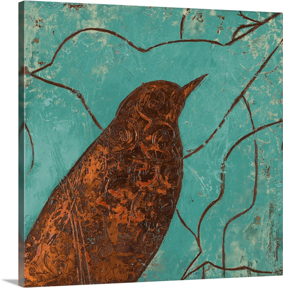 Large Solid-Faced Canvas Print Wall Art Print 20 x 20 entitled Lovely Birds I Solid-Faced Canvas Print entitled Lovely Birds I.  Multiple sizes available.  Primary colors within this image include Brown, Black, Teal.  Made in USA.  Satisfaction guaranteed.  Inks used are latex-based and designed to last.  Archival inks prevent fading and preserve as much fine detail as possible with no over-saturation or color shifting.  Canvas is handcrafted and made-to-order in the United States using high quality artist-grade canvas.
