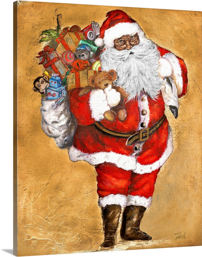Large Solid-Faced Canvas Print Wall Art Print 24 x 30 entitled Presents from Saint Nick Solid-Faced Canvas Print entitled Presents from Saint Nick.  Santa Claus holding a bag of gifts and toys.  Multiple sizes available.  Primary colors within this image include Dark Red, Brown, Peach, Black.  Made in the USA.  All products come with a 365 day workmanship guarantee.  Archival-quality UV-resistant inks.  Archival inks prevent fading and preserve as much fine detail as possible with no over-saturation or color shifting.  Featuring a proprietary design, our canvases produce the tightest corners without any bubbles, ripples, or bumps and will not warp or sag over time.