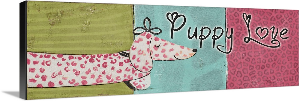 Large Solid-Faced Canvas Print Wall Art Print 48 x 16 entitled Puppy Love Solid-Faced Canvas Print entitled Puppy Love.  Originally mixed media, artwork of a pink spotted Dachshund and the words Puppy Love.  Multiple sizes available.  Primary colors within this image include Dark Yellow, Pink, Dark Gray, Silver.  Made in the USA.  Satisfaction guaranteed.  Archival-quality UV-resistant inks.  Canvas is handcrafted and made-to-order in the United States using high quality artist-grade canvas.  Featuring a proprietary design, our canvases produce the tightest corners without any bubbles, ripples, or bumps and will not warp or sag over time.
