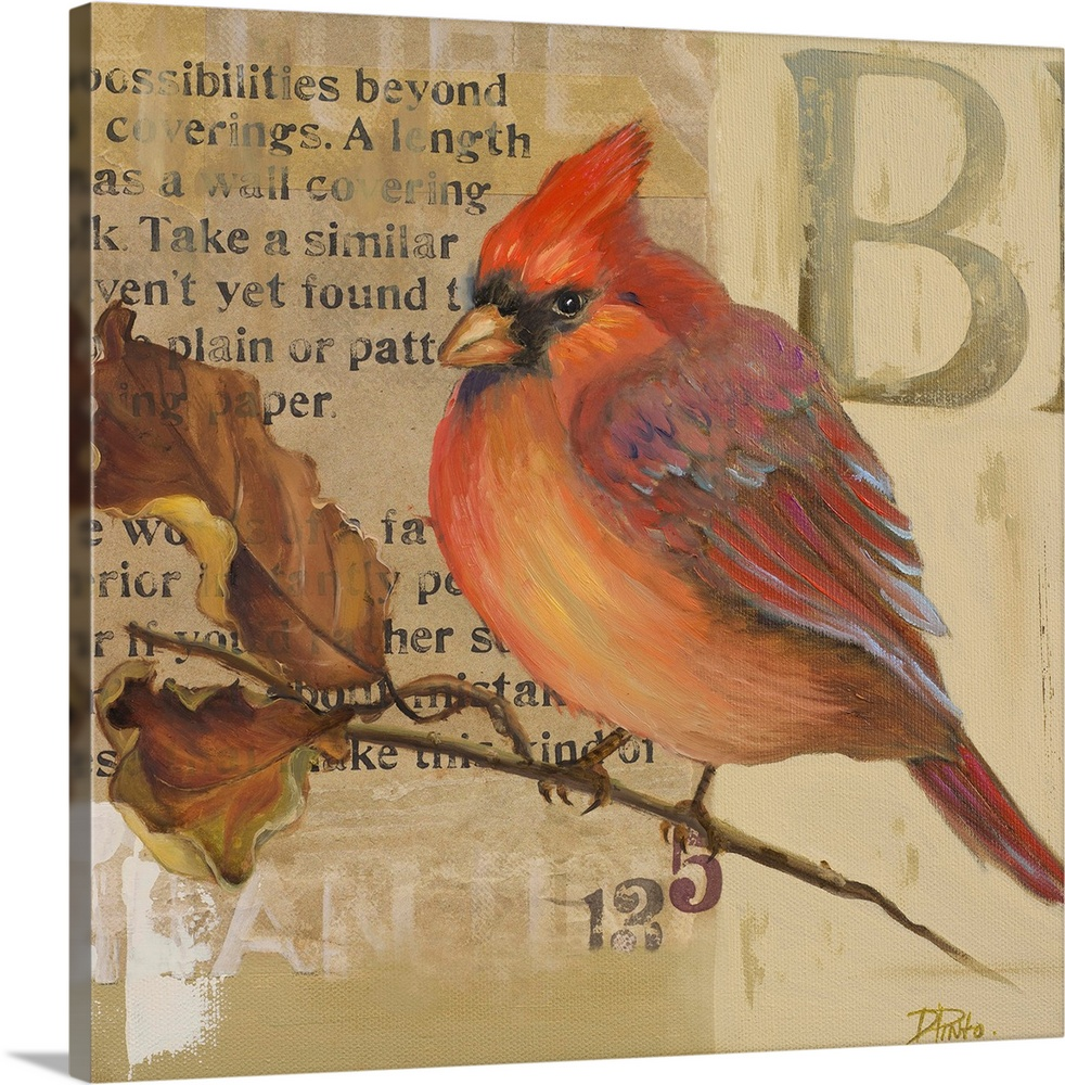 Large Solid-Faced Canvas Print Wall Art Print 20 x 20 entitled Red Love Birds I Solid-Faced Canvas Print entitled Red Love Birds I.  Original Size 12x12  Mixed Media.  Multiple sizes available.  Primary colors within this image include Brown, Silver, Dark Forest Green.  Made in the USA.  All products come with a 365 day workmanship guarantee.  Archival-quality UV-resistant inks.  Canvas depth is 1.25 and includes a finished backing with pre-installed hanging hardware.  Archival inks prevent fading and preserve as much fine detail as possible with no over-saturation or color shifting.