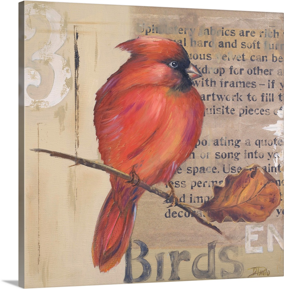Large Solid-Faced Canvas Print Wall Art Print 20 x 20 entitled Red Love Birds II Solid-Faced Canvas Print entitled Red Love Birds II.  Original Size 12x12  Mixed Media.  Multiple sizes available.  Primary colors within this image include Pink, Dark Gray, Silver.  Made in the USA.  All products come with a 365 day workmanship guarantee.  Inks used are latex-based and designed to last.  Archival inks prevent fading and preserve as much fine detail as possible with no over-saturation or color shifting.  Canvas depth is 1.25 and includes a finished backing with pre-installed hanging hardware.