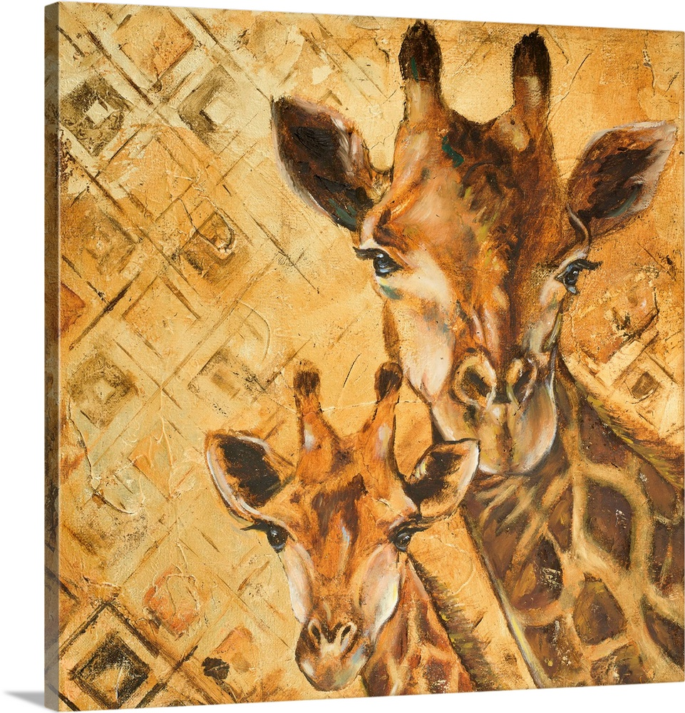 Large Gallery-Wrapped Canvas Wall Art Print 16 x 16 entitled Safari Mother and Son I Gallery-Wrapped Canvas entitled Safari Mother and Son I.  Mixed Media.  Multiple sizes available.  Primary colors within this image include Brown Peach Dark Gray.  Made in the USA.  All products come with a 365 day workmanship guarantee.  Archival-quality UV-resistant inks.  Canvas is designed to prevent fading.  Canvases are stretched across a 1.5 inch thick wooden frame with easy-to-mount hanging hardware.