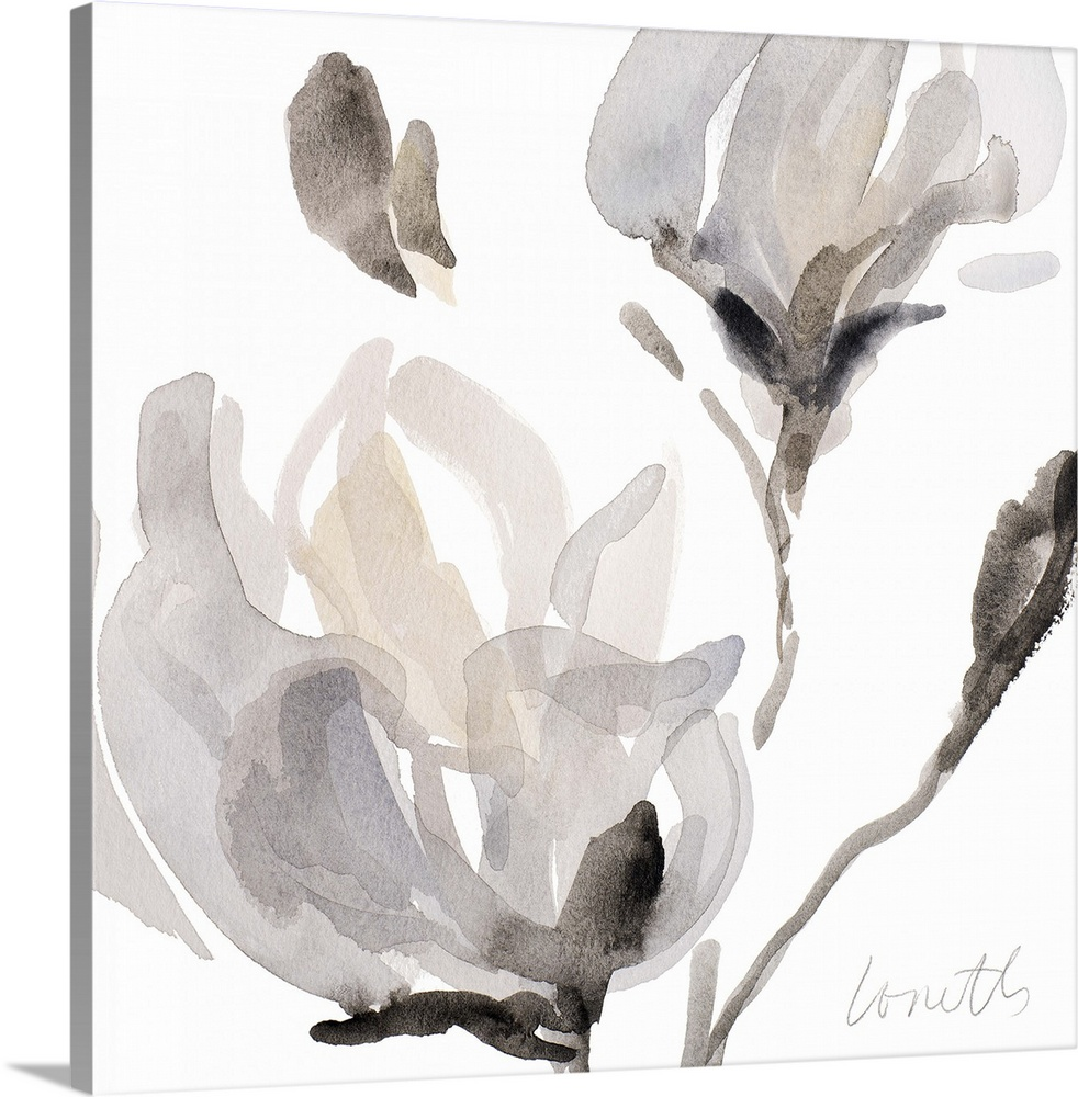 Solid-Faced Canvas drucken wand kunst entitled Tonal Magnolias I