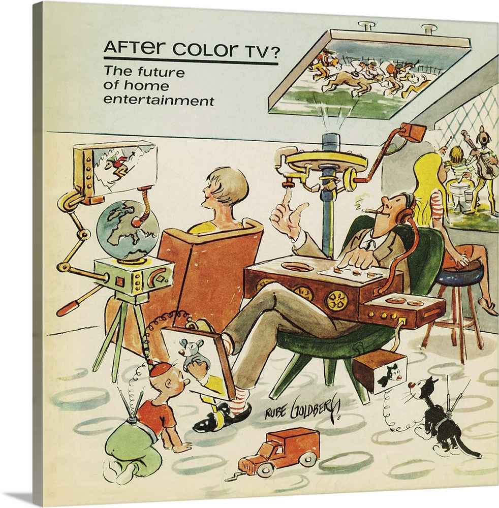 Large Gallery-Wrapped Canvas Wall Art Print 16 x 16 entitled Rube Goldberg Illustration - After Color TV - Original Gallery-Wrapped Canvas entitled Rube Goldberg Illustration - After Color TV - Original.  Illustration by Rube Goldberg of a family watching television on several devices in the future.  Multiple sizes available.  Primary colors within this image include Brown, Light Yellow, Black, Silver.  Made in USA.  All products come with a 365 day workmanship guarantee.  Inks used are latex-based and designed to last.  Canvas is acid-free and 20 millimeters thick.  Canvases are stretched across a 1.5 inch thick wooden frame with easy-to-mount hanging hardware.