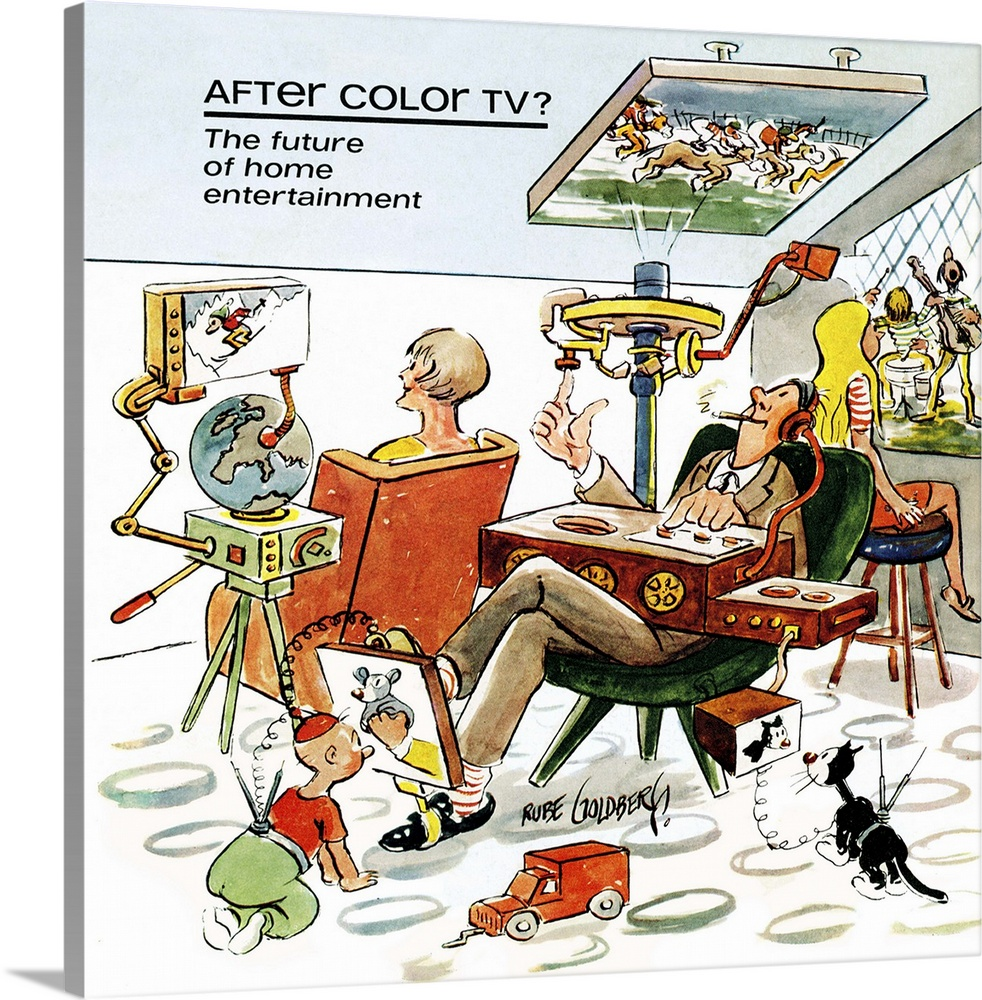 Large Gallery-Wrapped Canvas Wall Art Print 20 x 20 entitled Rube Goldberg Illustration - After Color TV - Restored Gallery-Wrapped Canvas entitled Rube Goldberg Illustration - After Color TV - Restored.  Illustration by Rube Goldberg of a family watching television on several devices in the future.  Multiple sizes available.  Primary colors within this image include Pink, Light Yellow, Black, White.  Made in USA.  Satisfaction guaranteed.  Archival-quality UV-resistant inks.  Canvases have a UVB protection built in to protect against fading and moisture and are designed to last for over 100 years.  Canvas is designed to prevent fading.