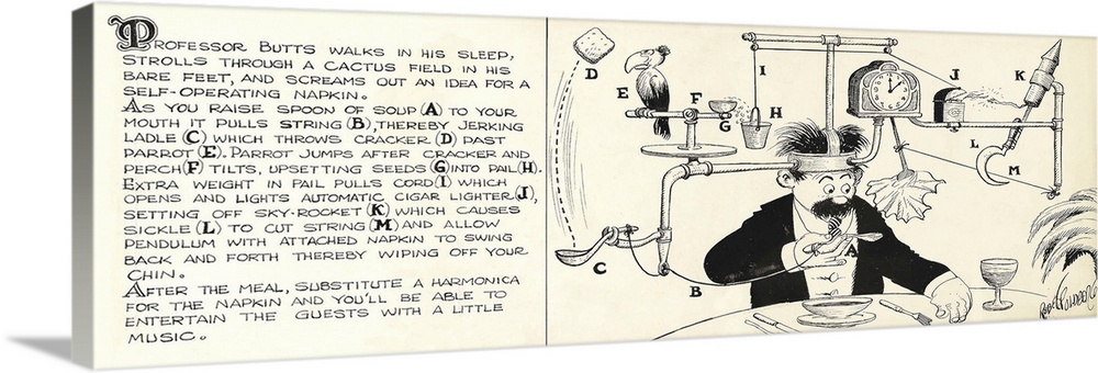 Large Gallery-Wrapped Canvas Wall Art Print 36 x 13 entitled Rube Goldberg Illustration - Professor Butts' Idea for a Self... Gallery-Wrapped Canvas entitled Rube Goldberg Illustration - Professor Butts Idea for a Self-Operating Napkin - 1931.  Comic illustration by Rube Goldberg for a complicated invention for a self-operating napkin.  Multiple sizes available.  Primary colors within this image include Dark Gray Light Gray White.  Made in USA.  Satisfaction guaranteed.  Inks used are latex-based and designed to last.  Canvas is acid-free and 20 millimeters thick.  Canvas is designed to prevent fading.