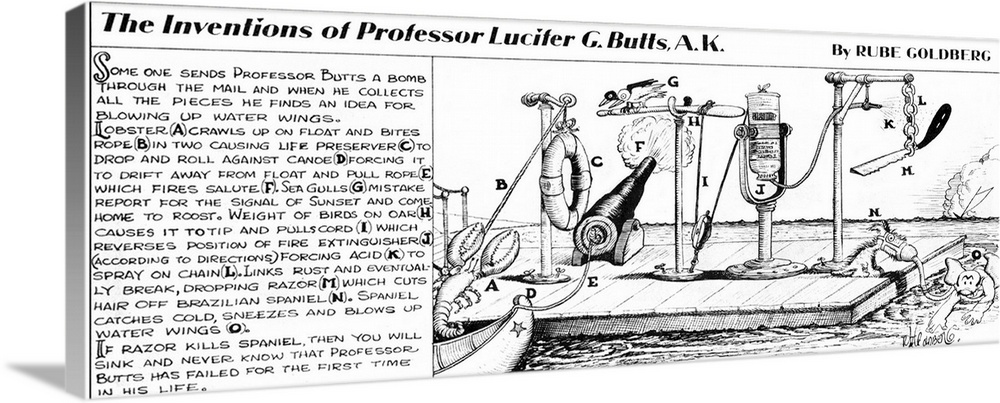 Large Gallery-Wrapped Canvas Wall Art Print 36 x 14 entitled Rube Goldberg Illustration - Professor Butts' Idea for Blowin... Gallery-Wrapped Canvas entitled Rube Goldberg Illustration - Professor Butts Idea for Blowing Up Water Wings.  Comic illustration by Rube Goldberg for a complicated invention for blowing up water wings.  Multiple sizes available.  Primary colors within this image include Black Gray White.  Made in USA.  Satisfaction guaranteed.  Inks used are latex-based and designed to last.  Canvas frames are built with farmed or reclaimed domestic pine or poplar wood.  Museum-quality artist-grade canvas mounted on sturdy wooden stretcher bars 1.5 thick.  Comes ready to hang.