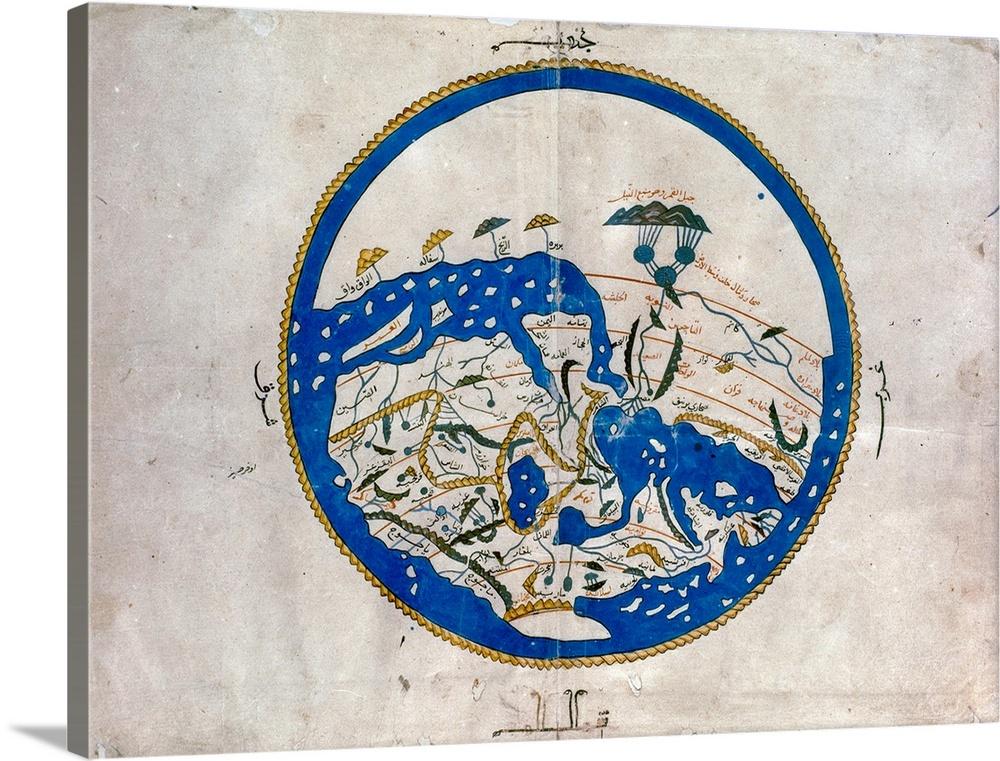 Canvas Kunst Drucken  Al-Idrisi's World Map