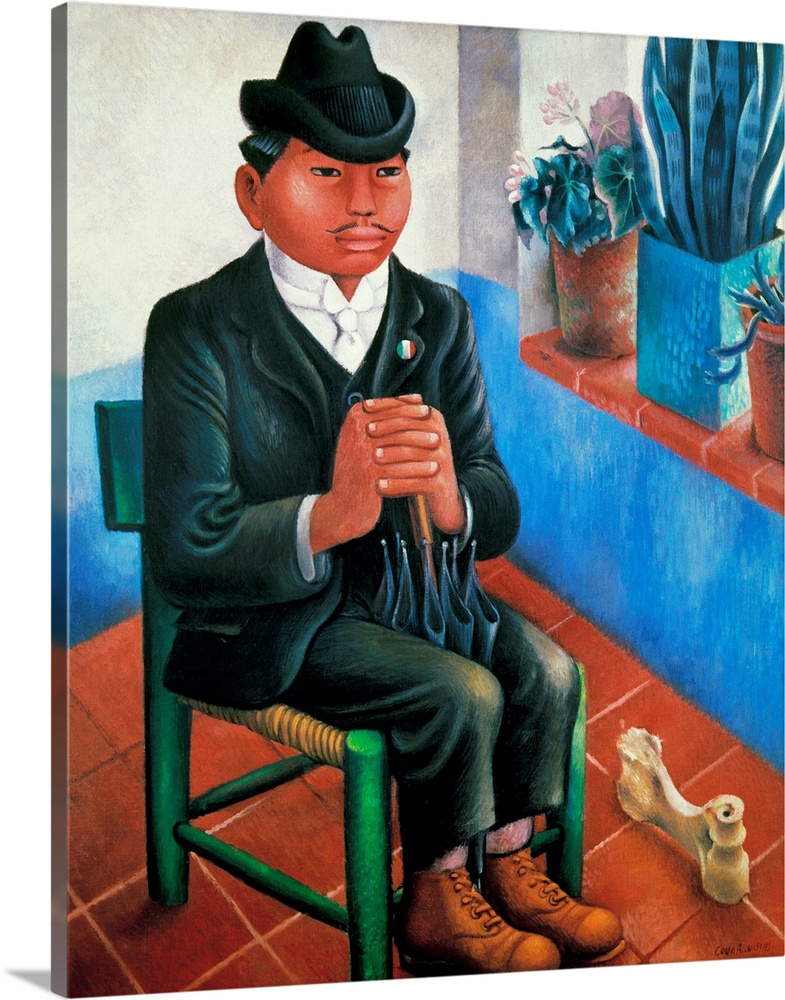 Large Solid-Faced Canvas Print Wall Art Print 24 x 30 entitled Covarrubias: The Bone Solid-Faced Canvas Print entitled Covarrubias The Bone.  The Bone or The Rural Schoolteacher. Satirical depiction of an indiginous Mexican schoolteacher in modern western clothes, witha bone thrown to him in exchange for his loyalty to a corrupt national party. Oil on canvas by Miguel Covarrubias, 1930s.  Multiple sizes available.  Primary colors within this image include Forest Green, Pink, Black, Gray Blue.  Made in the USA.  All products come with a 365 day workmanship guarantee.  Inks used are latex-based and designed to last.  Canvas is handcrafted and made-to-order in the United States using high quality artist-grade canvas.  Canvas depth is 1.25 and includes a finished backing with pre-installed hanging hardware.