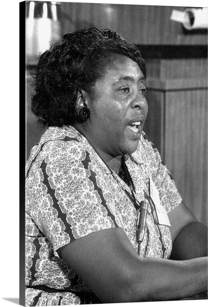 Large Solid-Faced Canvas Print Wall Art Print 24 x 36 entitled Fannie Lou Hamer (1917-1977) Solid-Faced Canvas Print entitled Fannie Lou Hamer 1917-1977.  FANNIE LOU HAMER 1917-1977. American civil rights activist. Speaking as a member of the Mississippi Freedom Democratic Party, at the Democratic National Convention in Atlantic City, New Jersey, August 1964.  Multiple sizes available.  Primary colors within this image include Dark Gray, Light Gray, White.  Made in the USA.  Satisfaction guaranteed.  Inks used are latex-based and designed to last.  Canvas is handcrafted and made-to-order in the United States using high quality artist-grade canvas.  Archival inks prevent fading and preserve as much fine detail as possible with no over-saturation or color shifting.