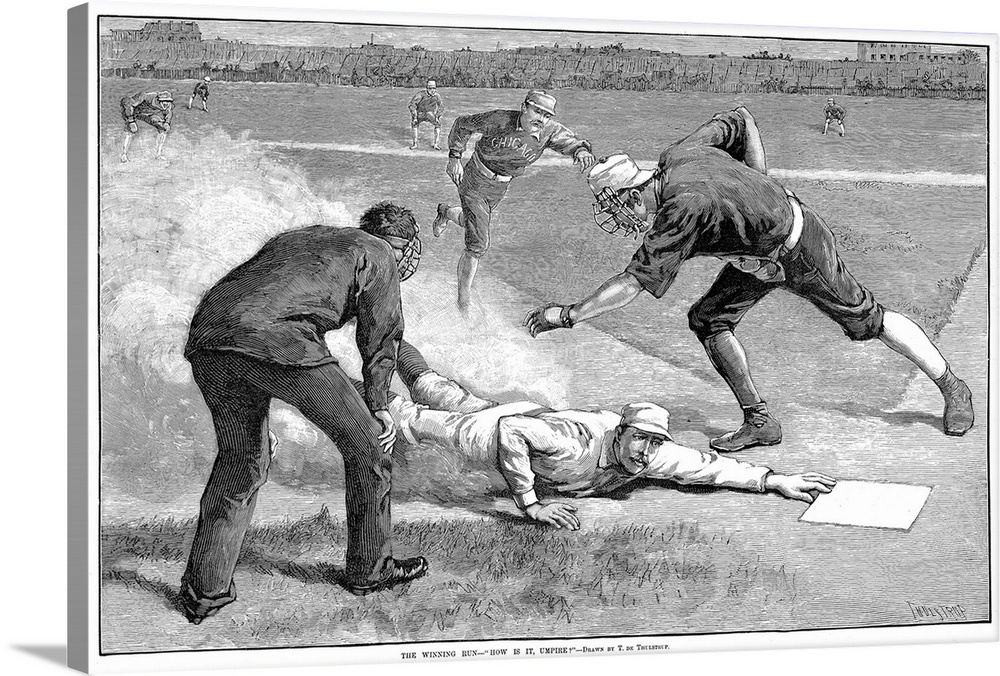 Large Gallery-Wrapped Canvas Wall Art Print 24 x 16 entitled Giants vs. White Sox Baseball Game, 1885 Gallery-Wrapped Canvas entitled Giants vs. White Sox Baseball Game, 1885.  New York Giants catcher William Buck Ewing slides home safely under Chicago White Stockings catcher Silver Flint to score the winning run in a 1-0 game at the Polo Grounds, New York, 6 August 1885. Wood engraving after Thure de Thulstrup from a contemporary American newspaper.  Multiple sizes available.  Primary colors within this image include Black, Gray, White.  Made in USA.  All products come with a 365 day workmanship guarantee.  Archival-quality UV-resistant inks.  Canvas is designed to prevent fading.  Museum-quality, artist-grade canvas mounted on sturdy wooden stretcher bars 1.5 thick.  Comes ready to hang.
