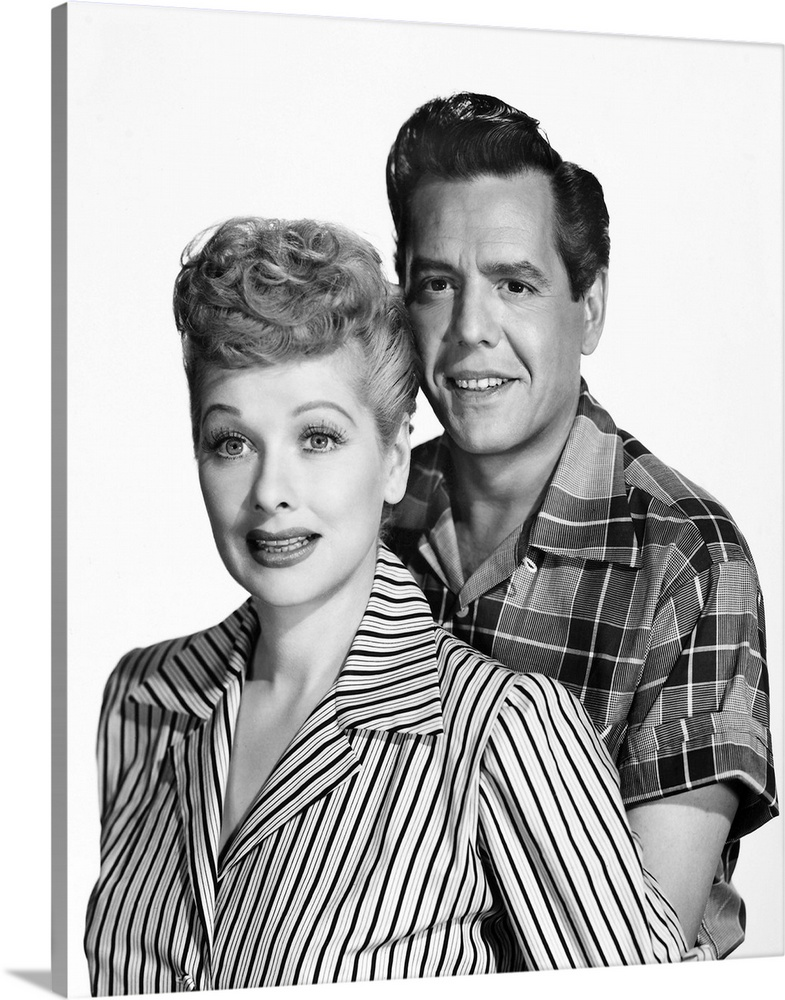 Large Gallery-Wrapped Canvas Wall Art Print 16 x 20 entitled Lucille Ball (1911-1989), American actress and comedienne Gallery-Wrapped Canvas entitled Lucille Ball 1911-1989, American actress and comedienne.  American actress and comedienne. With husband Desi Arnaz 1917-1986 in a publicity photograph for the television series I Love Lucy, around the time of the shows premiere in 1951.  Multiple sizes available.  Primary colors within this image include Dark Gray, Light Gray, White.  Made in the USA.  All products come with a 365 day workmanship guarantee.  Inks used are latex-based and designed to last.  Museum-quality, artist-grade canvas mounted on sturdy wooden stretcher bars 1.5 thick.  Comes ready to hang.  Canvases have a UVB protection built in to protect against fading and moisture and are designed to last for over 100 years.