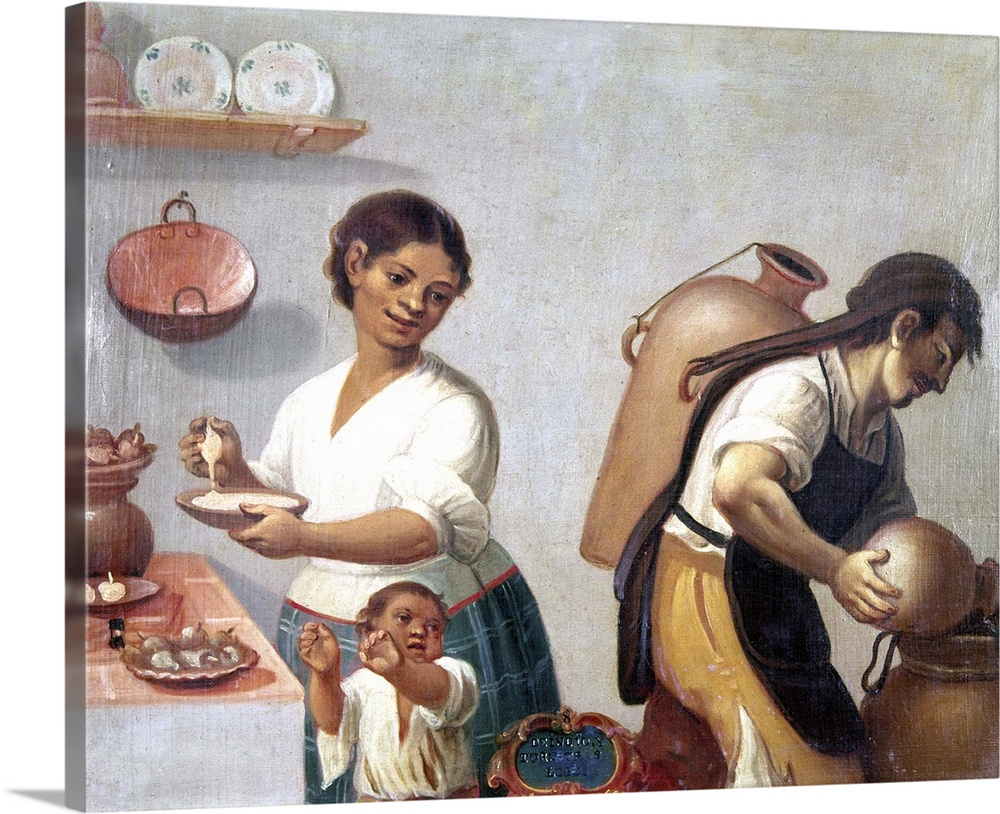 Large Solid-Faced Canvas Print Wall Art Print 30 x 24 entitled Mexican Family, 1775 Solid-Faced Canvas Print entitled Mexican Family, 1775.  A lower caste family of mixed race in colonial Mexico. Oil on cloth by an unknown artist, c1775.  Multiple sizes available.  Primary colors within this image include Peach, Gray, Silver, Dark Navy Blue.  Made in the USA.  Satisfaction guaranteed.  Archival-quality UV-resistant inks.  Archival inks prevent fading and preserve as much fine detail as possible with no over-saturation or color shifting.  Featuring a proprietary design, our canvases produce the tightest corners without any bubbles, ripples, or bumps and will not warp or sag over time.