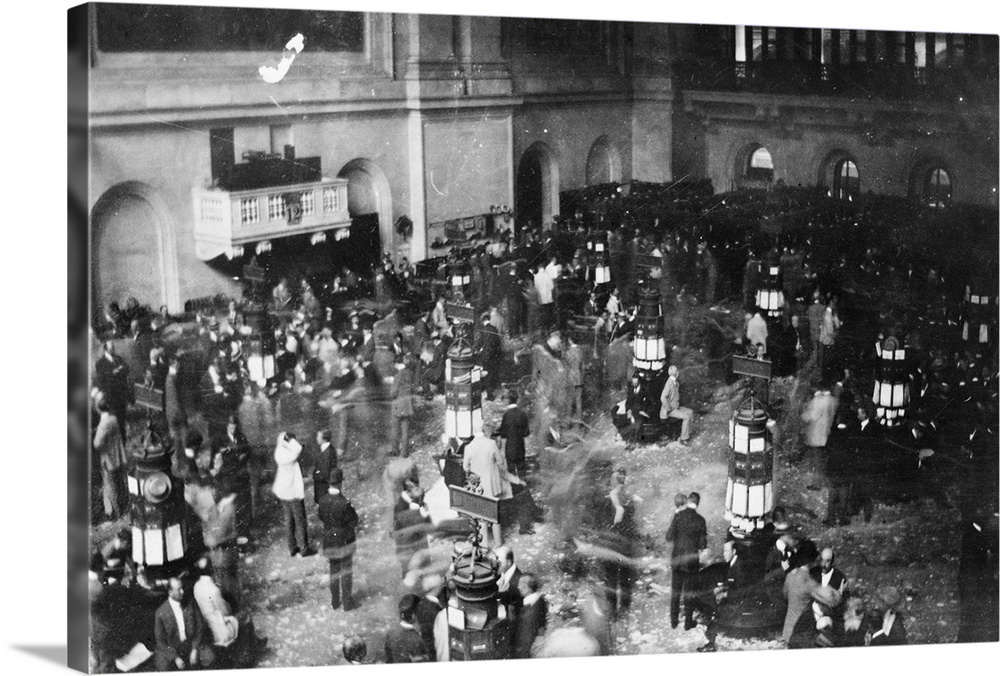 Large Solid-Faced Canvas Print Wall Art Print 30 x 20 entitled The floor of the New York Stock Exchange in New York City, ... Solid-Faced Canvas Print entitled The floor of the New York Stock Exchange in New York City, 1907.  The floor of the New York Stock Exchange in New York City. Photographed with a camera hidden in the photographers sleeve, c1907.  Multiple sizes available.  Primary colors within this image include Dark Gray, Silver.  Made in USA.  All products come with a 365 day workmanship guarantee.  Archival-quality UV-resistant inks.  Canvas depth is 1.25 and includes a finished backing with pre-installed hanging hardware.  Archival inks prevent fading and preserve as much fine detail as possible with no over-saturation or color shifting.