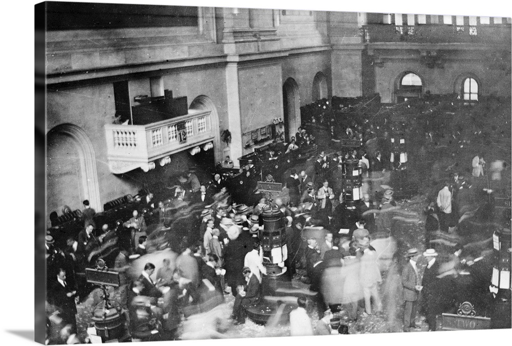 Large Solid-Faced Canvas Print Wall Art Print 30 x 20 entitled The floor of the New York Stock Exchange in New York City, ... Solid-Faced Canvas Print entitled The floor of the New York Stock Exchange in New York City, 1907.  The floor of the New York Stock Exchange in New York City. Photographed with a camera hidden in the photographers sleeve, c1907.  Multiple sizes available.  Primary colors within this image include Dark Gray, Silver.  Made in the USA.  Satisfaction guaranteed.  Archival-quality UV-resistant inks.  Archival inks prevent fading and preserve as much fine detail as possible with no over-saturation or color shifting.  Featuring a proprietary design, our canvases produce the tightest corners without any bubbles, ripples, or bumps and will not warp or sag over time.