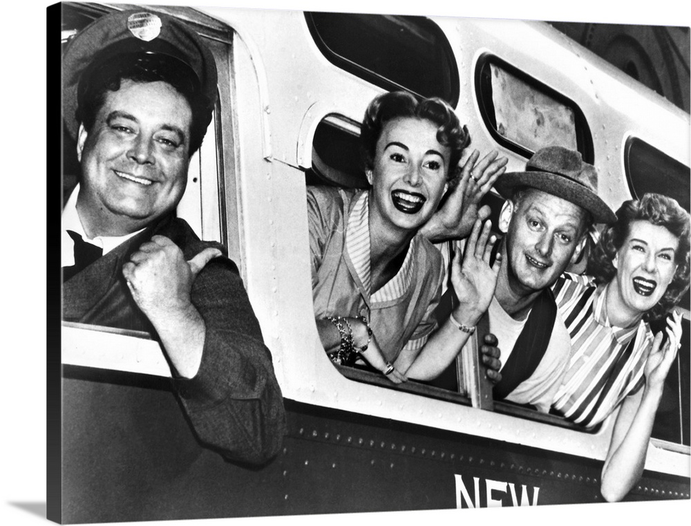 Large Gallery-Wrapped Canvas Wall Art Print 30 x 23 entitled The Honeymooners, C.1955 Gallery-Wrapped Canvas entitled The Honeymooners, C.1955.  Left to right Cast members Jackie Gleason, Audrey Meadows, Art Carney, and Joyce Randolph in a publicity photograph for the television series The Honeymooners, c1955.  Multiple sizes available.  Primary colors within this image include Dark Gray, White.  Made in USA.  All products come with a 365 day workmanship guarantee.  Inks used are latex-based and designed to last.  Canvas is a 65 polyester, 35 cotton base, with two acrylic latex primer basecoats and a semi-gloss inkjet receptive topcoat.  Museum-quality, artist-grade canvas mounted on sturdy wooden stretcher bars 1.5 thick.  Comes ready to hang.