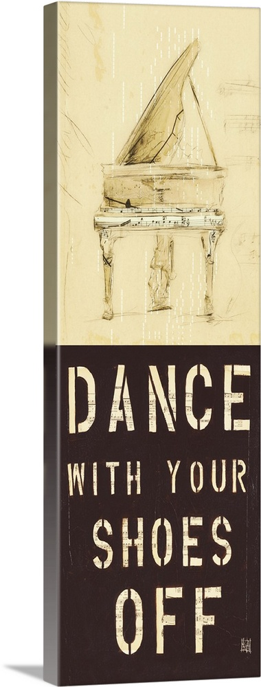 Large Solid-Faced Canvas Print Wall Art Print 16 x 48 entitled Dance With Your Shoes Off Solid-Faced Canvas Print entitled Dance With Your Shoes Off.  Multiple sizes available.  Primary colors within this image include Dark Yellow, Dark Gray, White.  Made in the USA.  Satisfaction guaranteed.  Inks used are latex-based and designed to last.  Featuring a proprietary design, our canvases produce the tightest corners without any bubbles, ripples, or bumps and will not warp or sag over time.  Archival inks prevent fading and preserve as much fine detail as possible with no over-saturation or color shifting.