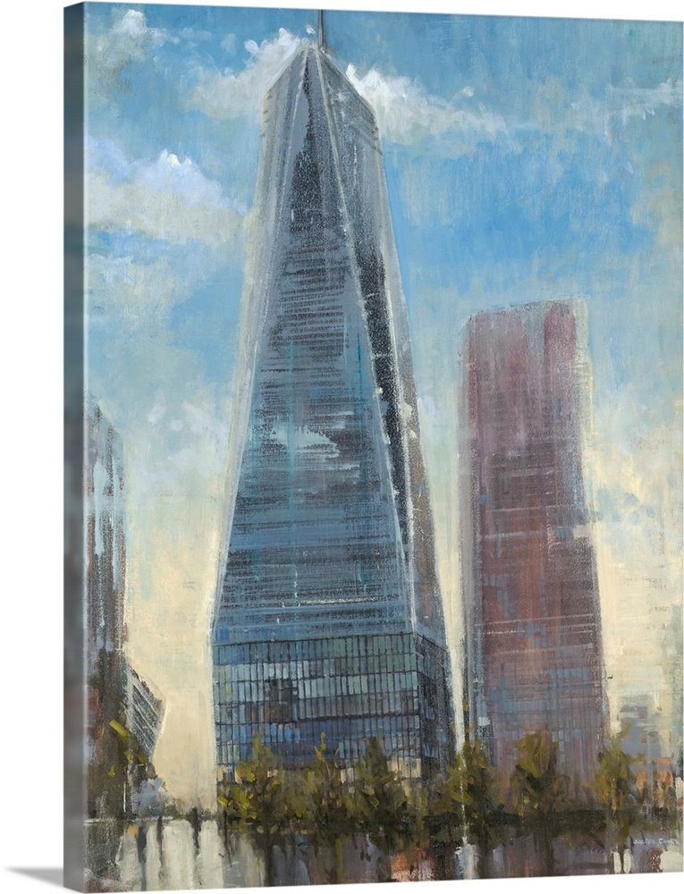Large Solid-Faced Canvas Print Wall Art Print 36 x 48 entitled Freedom Tower Solid-Faced Canvas Print entitled Freedom Tower.  Contemporary painting of the Freedom Tower in New York City with a washed out look.  Multiple sizes available.  Primary colors within this image include Silver, Dark Forest Green, Light Gray Blue.  Made in the USA.  All products come with a 365 day workmanship guarantee.  Archival-quality UV-resistant inks.  Canvas depth is 1.25 and includes a finished backing with pre-installed hanging hardware.  Archival inks prevent fading and preserve as much fine detail as possible with no over-saturation or color shifting.
