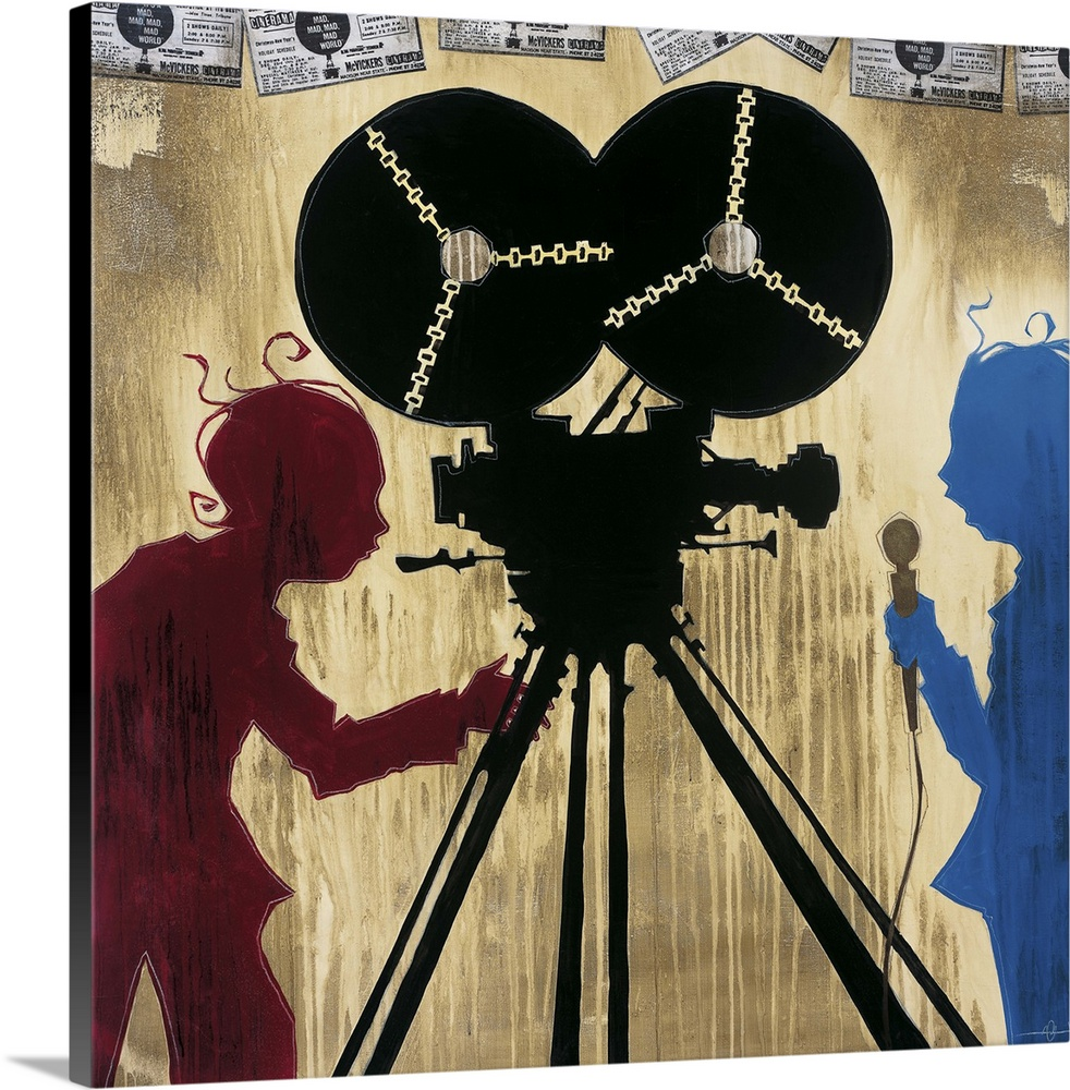 Large Solid-Faced Canvas Print Wall Art Print 20 x 20 entitled It's a Mad, Mad, Mad, Mad World Solid-Faced Canvas Print entitled Its a Mad, Mad, Mad, Mad World.  A painting of a camera man in red silhouette pointing a camera at man in blue silhouette holding a microphone.  Multiple sizes available.  Primary colors within this image include Plum, Black, Light Gray, Muted Blue.  Made in the USA.  All products come with a 365 day workmanship guarantee.  Archival-quality UV-resistant inks.  Featuring a proprietary design, our canvases produce the tightest corners without any bubbles, ripples, or bumps and will not warp or sag over time.  Canvas is handcrafted and made-to-order in the United States using high quality artist-grade canvas.