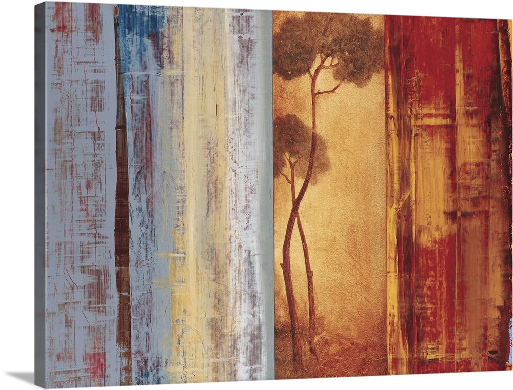 Large Solid-Faced Canvas Print Wall Art Print 40 x 30 entitled Shadows and Lines I Solid-Faced Canvas Print entitled Shadows and Lines I.  Contemporary abstract painting using vertical lines like shutters concealing parts of a thin tree.  Multiple sizes available.  Primary colors within this image include Dark Red, Peach, Black, Light Gray.  Made in the USA.  All products come with a 365 day workmanship guarantee.  Archival-quality UV-resistant inks.  Featuring a proprietary design, our canvases produce the tightest corners without any bubbles, ripples, or bumps and will not warp or sag over time.  Canvas depth is 1.25 and includes a finished backing with pre-installed hanging hardware.