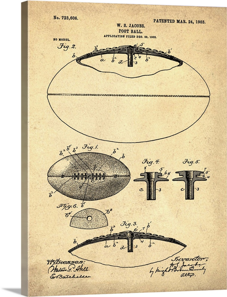 Solid-Faced Canvas Print Wall Art entitled Football, 1903 - Antique
