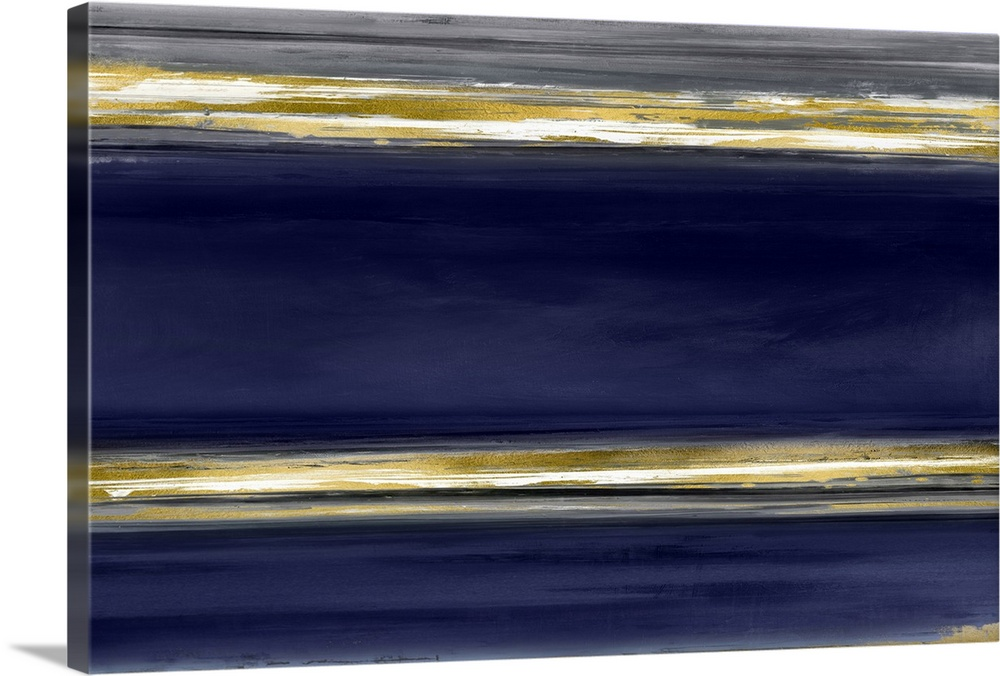 Solid-Faced Canvas Print Wall Art entitled Parallel Lines on Indigo