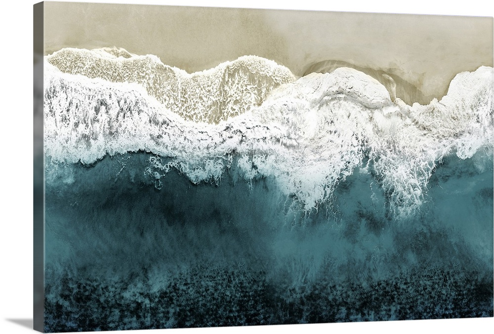 Solid-Faced Canvas Print Wall Art entitled Teal Ocean Waves From Above II