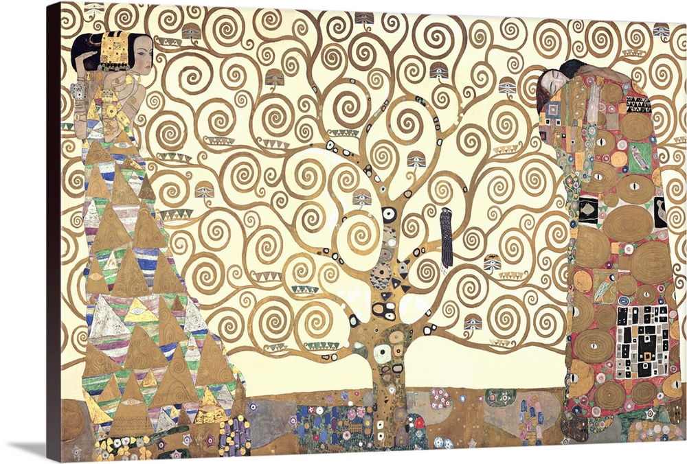 Solid-Faced Canvas drucken wand kunst entitled The Tree of Life - Stoclet F