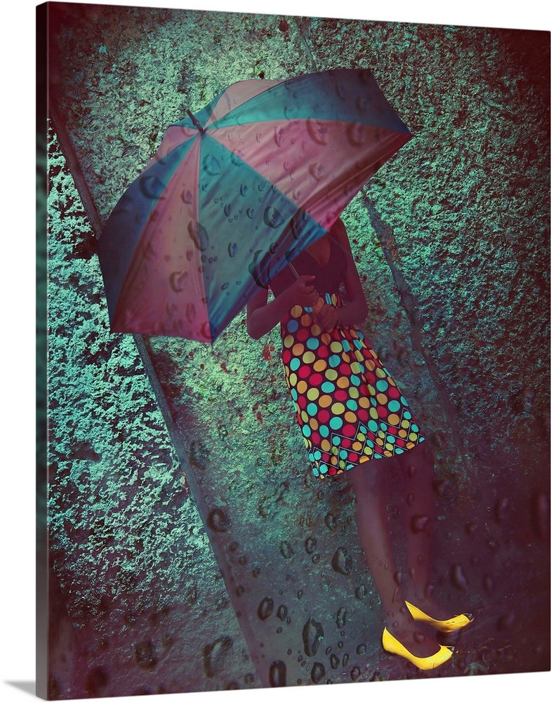 Large Solid-Faced Canvas Print Wall Art Print 24 x 30 entitled Cosmic Rain Solid-Faced Canvas Print entitled Cosmic Rain.  A young woman wearing a spotted dress and yellow shoes holding an umbrella.  Multiple sizes available.  Primary colors within this image include Plum, Light Green, Dark Gray, Gray Blue.  Made in USA.  All products come with a 365 day workmanship guarantee.  Archival-quality UV-resistant inks.  Canvas is handcrafted and made-to-order in the United States using high quality artist-grade canvas.  Archival inks prevent fading and preserve as much fine detail as possible with no over-saturation or color shifting.