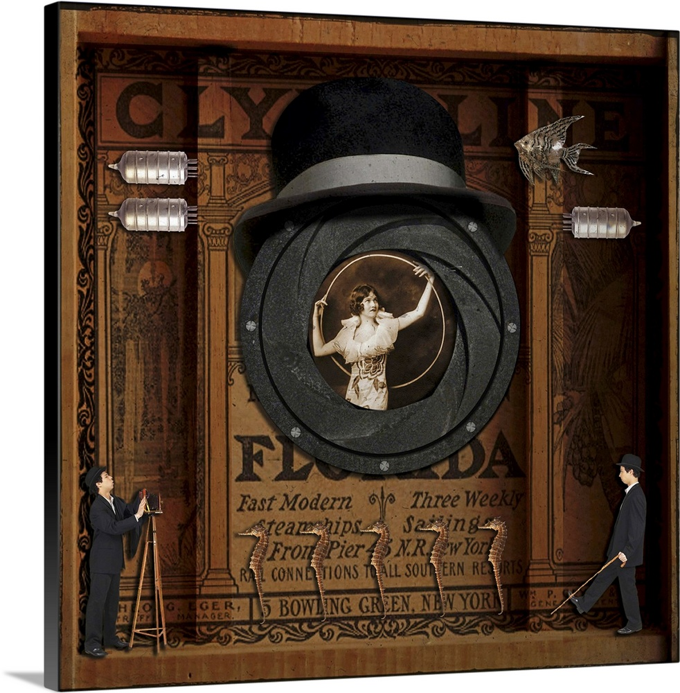 Large Solid-Faced Canvas Print Wall Art Print 20 x 20 entitled Florida Solid-Faced Canvas Print entitled Florida.  A surreal assemblage,  la Joseph Cornell, of a woman posing with a hoop, framed by an early camera iris.  Multiple sizes available.  Primary colors within this image include Brown, Black, White.  Made in USA.  Satisfaction guaranteed.  Archival-quality UV-resistant inks.  Canvas is handcrafted and made-to-order in the United States using high quality artist-grade canvas.  Canvas depth is 1.25 and includes a finished backing with pre-installed hanging hardware.