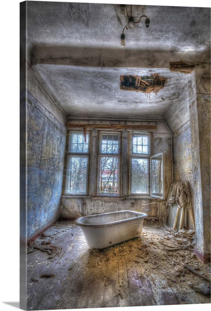 Large Solid-Faced Canvas Print Wall Art Print 20 x 30 entitled Lunatic bath time Solid-Faced Canvas Print entitled Lunatic bath time.  Derelict asylum interior with bath.  Multiple sizes available.  Primary colors within this image include Dark Gray, Silver.  Made in the USA.  All products come with a 365 day workmanship guarantee.  Archival-quality UV-resistant inks.  Archival inks prevent fading and preserve as much fine detail as possible with no over-saturation or color shifting.  Canvas is handcrafted and made-to-order in the United States using high quality artist-grade canvas.