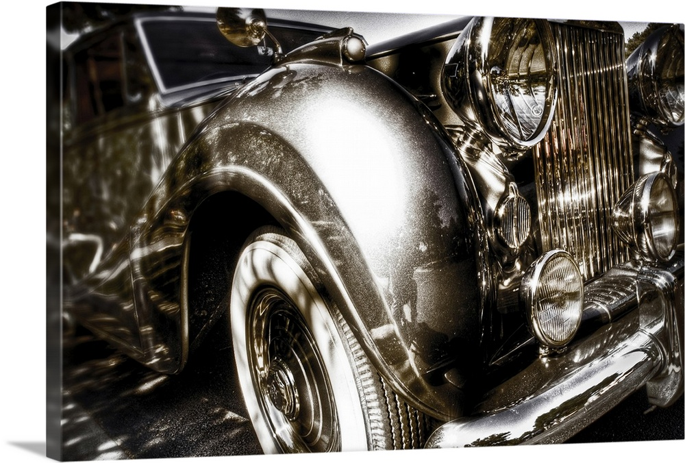 Large Solid-Faced Canvas Print Wall Art Print 30 x 20 entitled Silver Shadow Solid-Faced Canvas Print entitled Silver Shadow.  A vintage Rolls Royce motorcar with gleaming chrome grill and bumper.  Multiple sizes available.  Primary colors within this image include Black, Gray, White.  Made in USA.  Satisfaction guaranteed.  Inks used are latex-based and designed to last.  Canvas is handcrafted and made-to-order in the United States using high quality artist-grade canvas.  Archival inks prevent fading and preserve as much fine detail as possible with no over-saturation or color shifting.